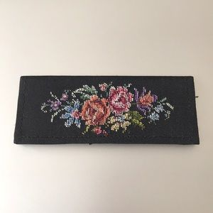 Vintage comb & mirror case petit point embroidery